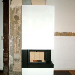 Camina S10 Speicherkamin mit Design Beton individuell gemauert mit Rückbau des alten Ofens