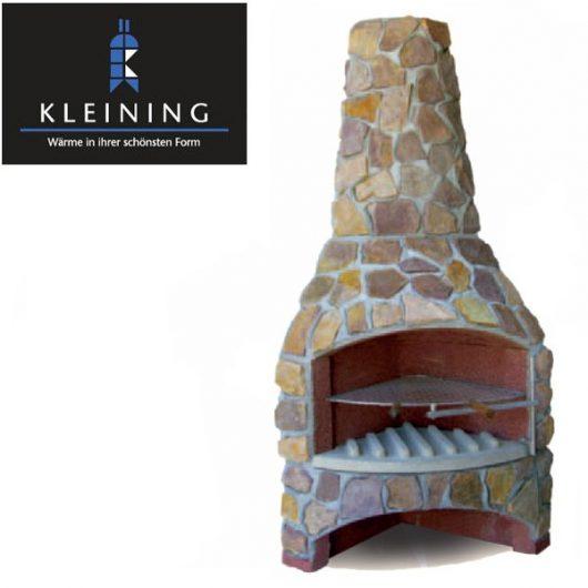 Kleining Gartenkamin, Gartengrill Eckmodell 800 Naturstein