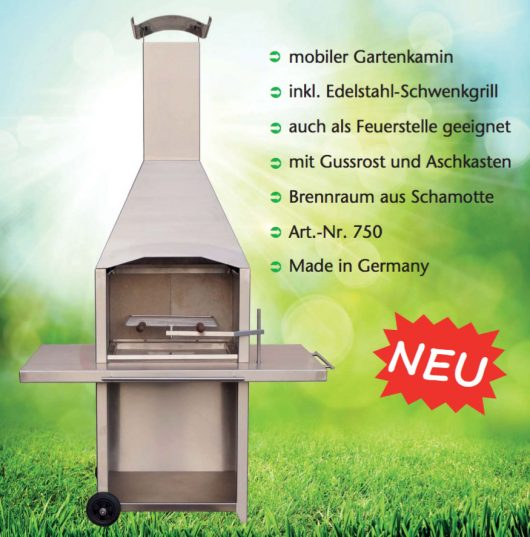 Kleining Transportabler Gartengrill aus Edelstahl 750