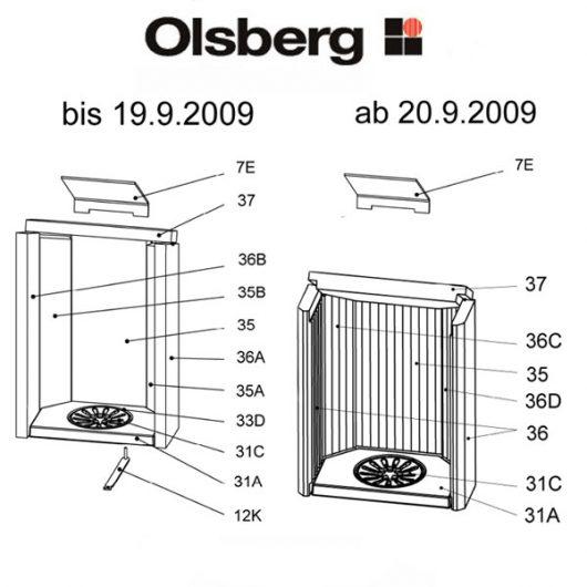 Olsberg Caldera Rückwandstein li glatt Ersatzteile Pos. 35B - 23/4084.1253