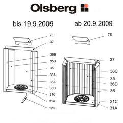 Olsberg Caldera Rückwand Rückwandstein Rückwandplatte Feuerraum Auskleidung Vermiculite re glatt Ersatzteile Pos. 35A - 23/4084.1254