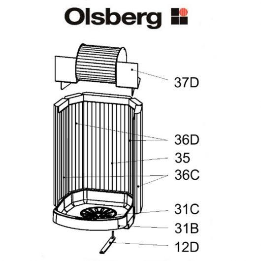 Olsberg Tacora Compact Rost-Lager-Rahmen Ersatzteile Pos. 31B - 23/5961.1201