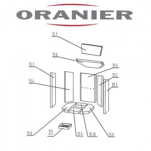 Oranier Kiruna 4 Serie 2 Bodenstein, Bodenplatte Vermeculite, Schamottstein, Schamottplatte Ersatzteile Pos 35.10 - 2904400000