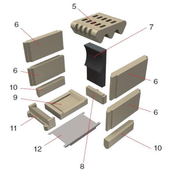 Schmid SH 8 G GB Deckenstein Schamotte Ersatzteile Pos. 5 - 67/2080-1260