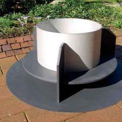 Kleining Feuerschale mit Edelstahlring Sockel aus Stahl schwarz - 785