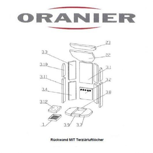 Oranier Polar 8 4654-8 Serie 2 Luftlöcher Schamottesatz komplett