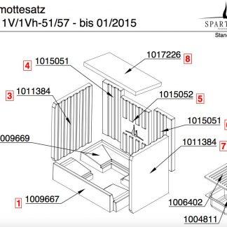 Spartherm Varia 1V / 1Vh 51 / 57 Rückwand-Steine links / rechts bis 01/2015 Pos. 4+6 - 1015051