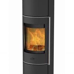 Fireplace PERONDI RLU Stahl schwarz 5 kW mit Glasabdeckung